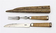 Travel cutlery in a shagreen case. 18th/19th century. With fork