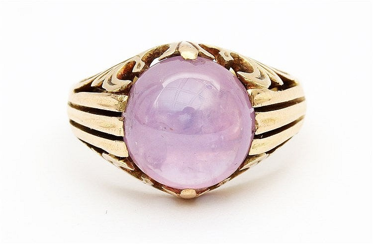 Pink star sapphire ring. Yellow gold, 14 krt. Sapphire approx.