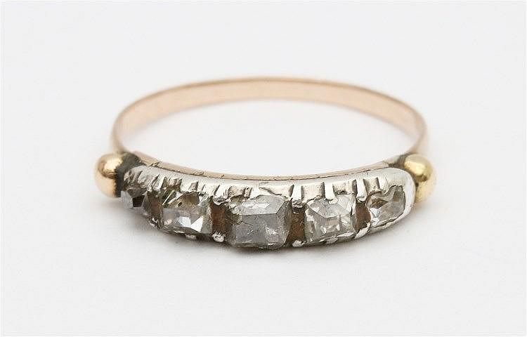 Diamond set yellow gold ring.
