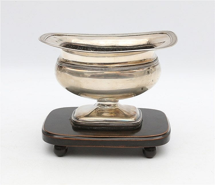 Silver brazier. Amsterdam 1840. On wooden pedestal. Copper liner