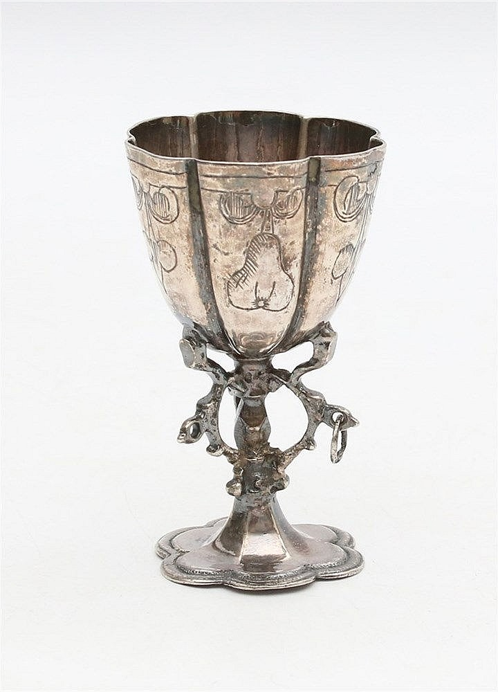 Silver miniature chalice. Apparently unmarked. 18th / 19th centu