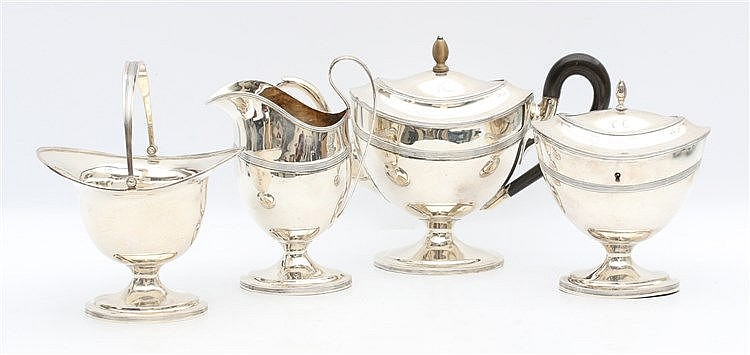 Silver teaservice by Johannes Adrianus van der Toorn, The Hague,