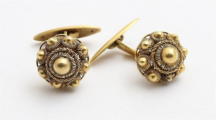 Pair of yellow gold 14 krt cuff links by fa. J de Leeuw, 's Hert
