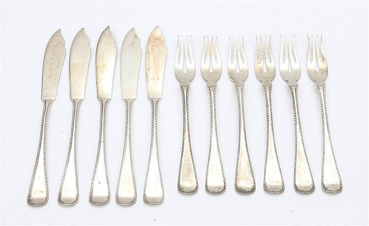 Silver fish cutlery, six forks and five knives, by Van Kempen en