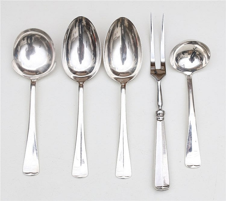 Silver serving cutlery. Marked 999.