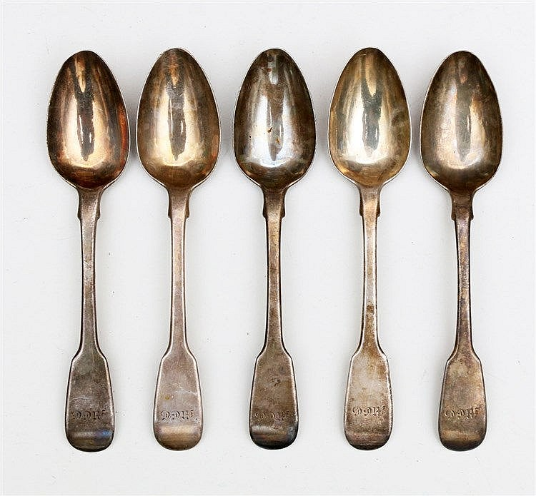 Six silver dessert spoons by William Bateman, London, 1831. Leng