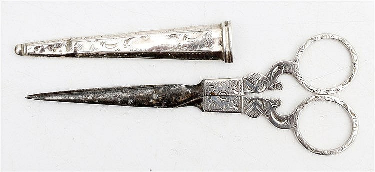 Silver pair of scissors, Dutch 19th century.