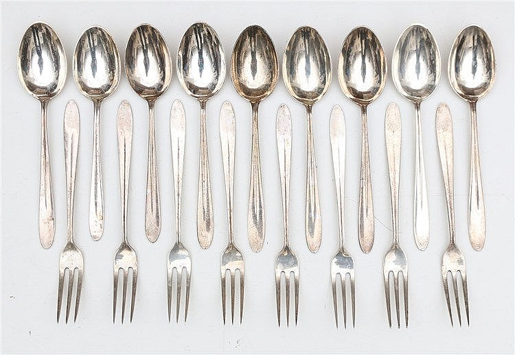 Nine silver spoons and eight silver forks by Gerritsen & van Ke