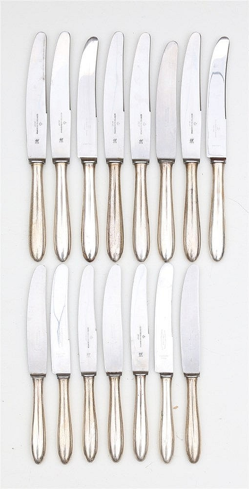 Eight large table knives and seven small table knives by Gerrits