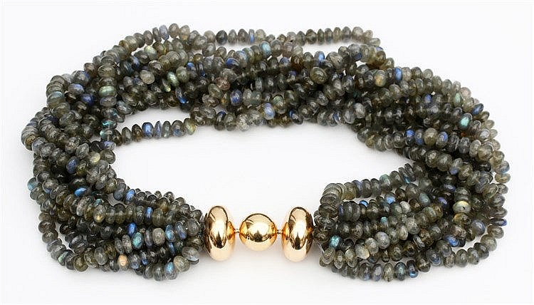 Labradorite necklace, nine rows. With yellow gold clasp. 1990's.