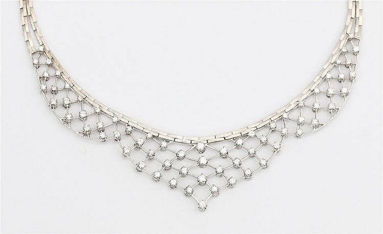 Diamond set white gold necklace. Total diamond weight approx