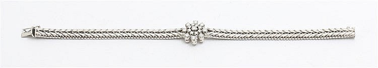 Diamond set 14 krt white gold bracelet.  Total weight 24.0 gra