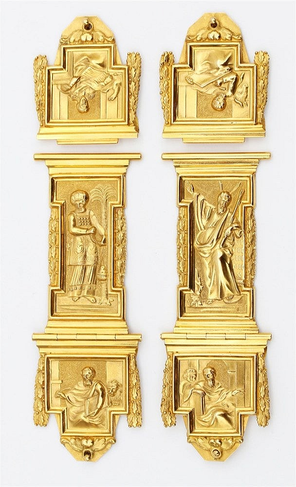 Pair of gold Bible clasps by Christiaan Schols, Dordrecht, 1797.
