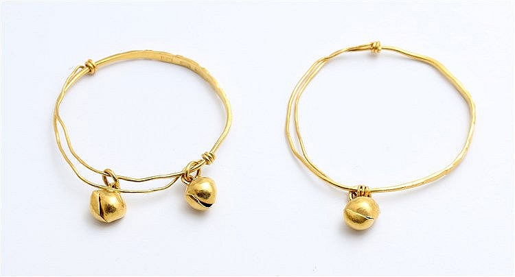 Chinese yellow gold bangles. Marked with Chinese signs and 100%.