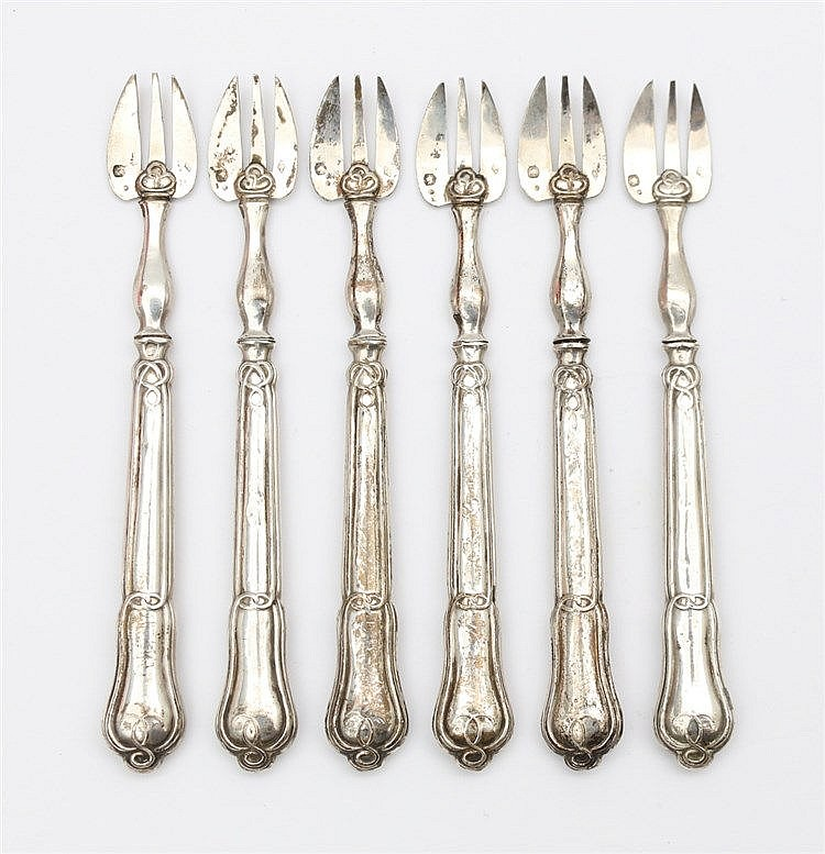 Six silver oyster forks, France 19th century. Mastermark AC with