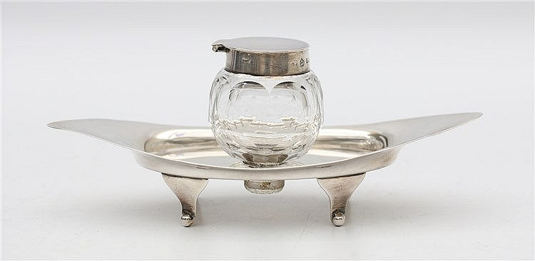 Edwardian inkwell, crystal and silver. By Asprey & Co., Birming