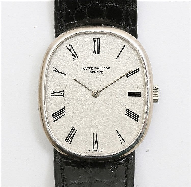 White gold watch, Patek Philippe Ellipse, vintage. Ref. 3848. C