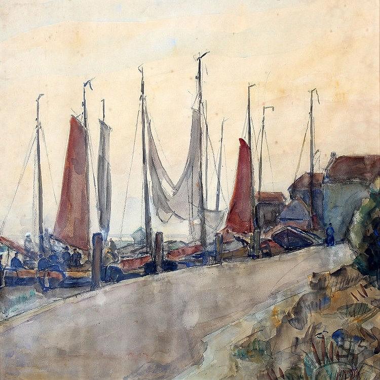 Willem Noordijk (1887-1970) Platbodems aan de