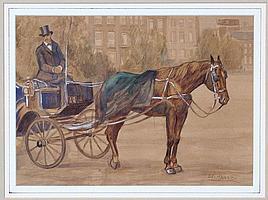 Dirk van Haaren (1878-1953) Wachtend rijtuig.