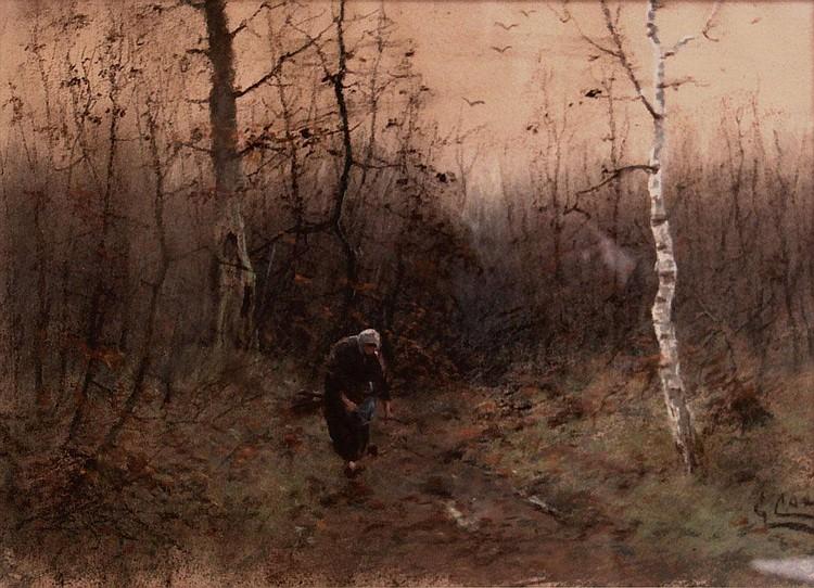Cornelis Cox (1875-1956) Oude vrouw op bospad.