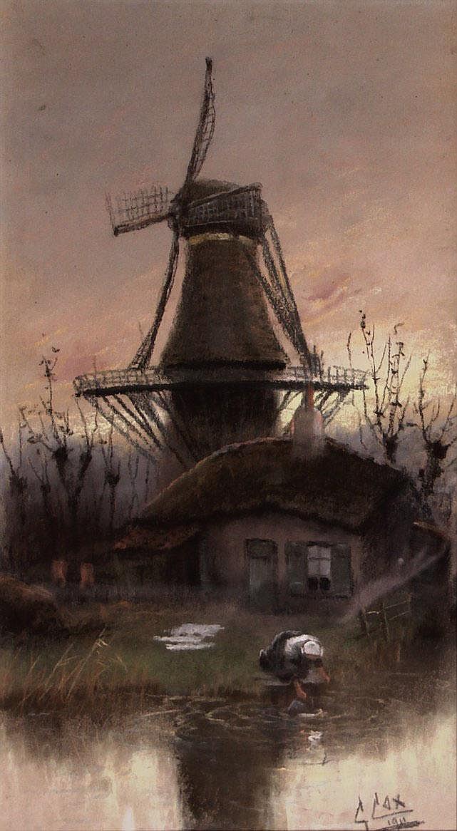 Cornelis Cox (1875-1956) Boerin met was bij molen.