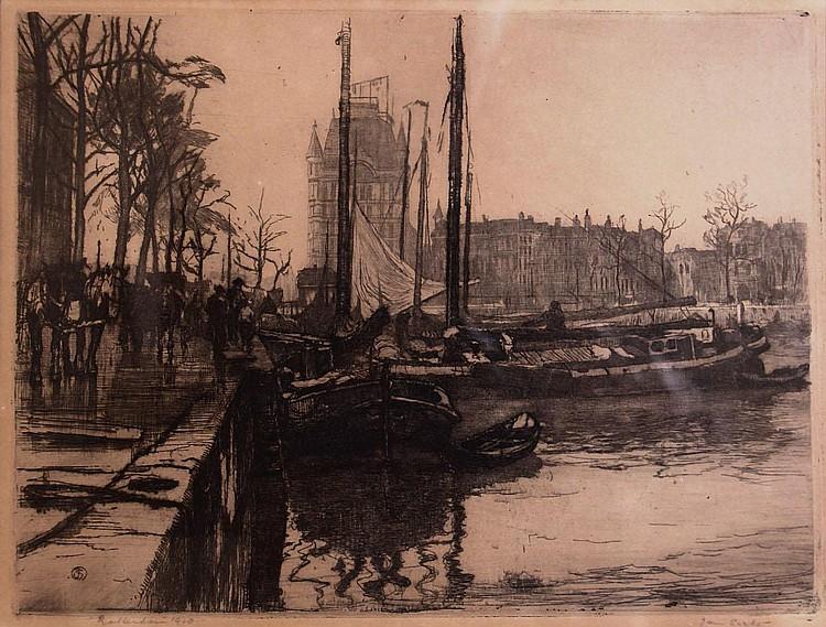 Jan Sirks (1885-1938) Oude haven te Rotterdam met