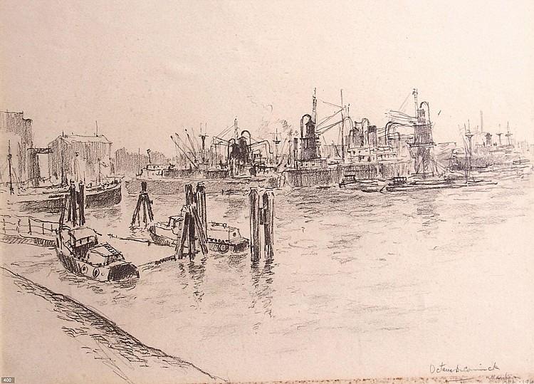 Octave de Coninck (1894-1974) 'Maashaven'.