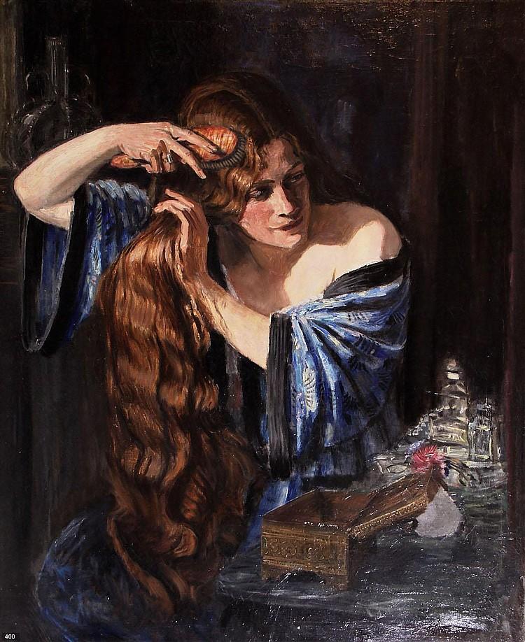 Marius Richters (1878-1955) Vrouw bij toilettafel.