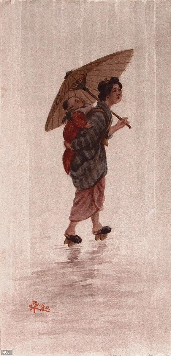 Tsutaya Ryuko (1868-1933) Moeder met kind.