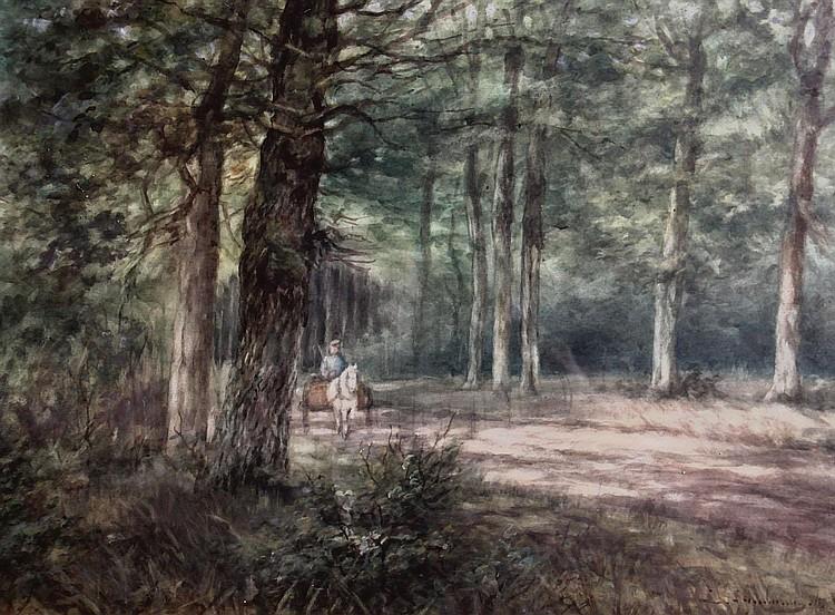 Lion Schulman (1851-1943) Houtsprokkelaar met kar