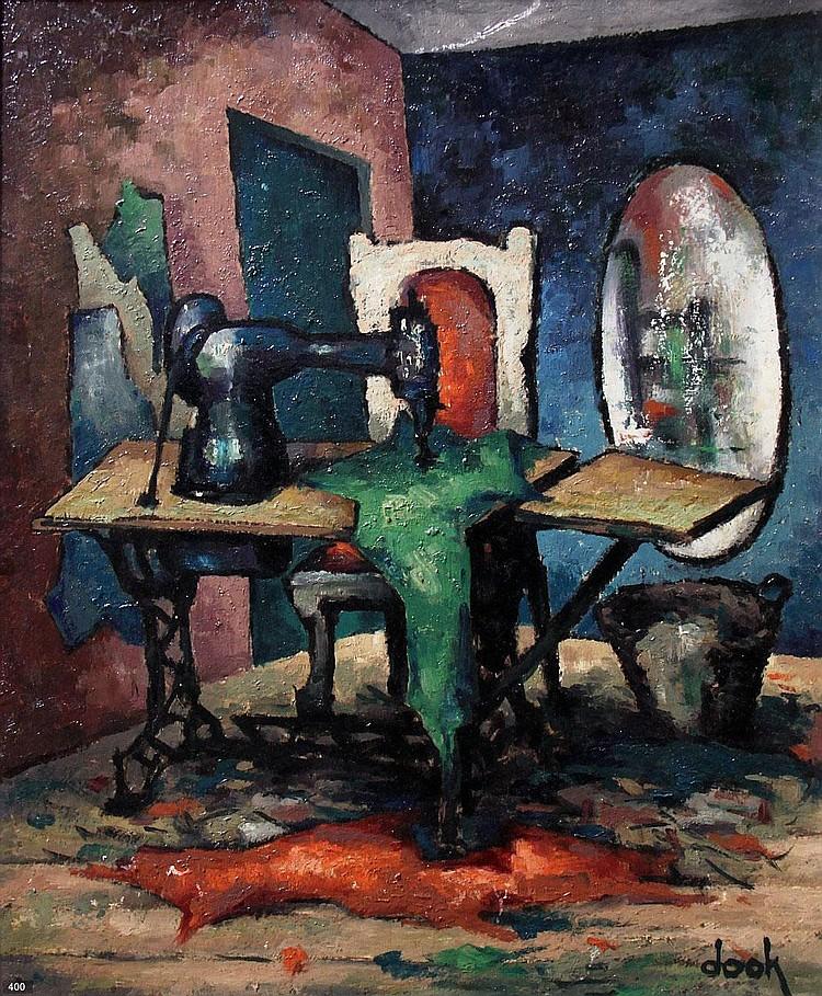 Dook Everse (1910-2005) Kamer met trapnaaimachine.