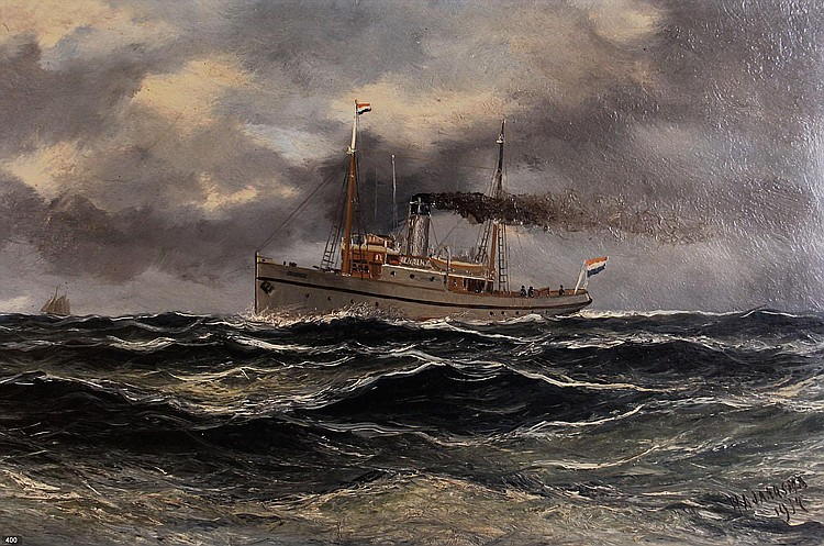Haaike Abraham Jaarsma (1881-1970) Stoomboot op