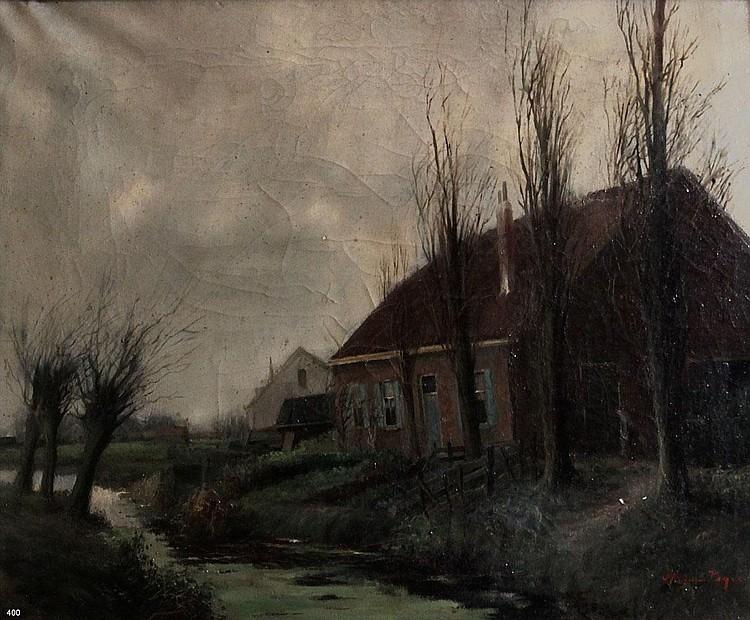Herman Veger (1910-1983) Boerderij aan
