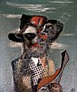 Dolf Henkes (1903-1989) Man met hoed en banjo., Roelof Lucas Johannes Henkes, Click for value