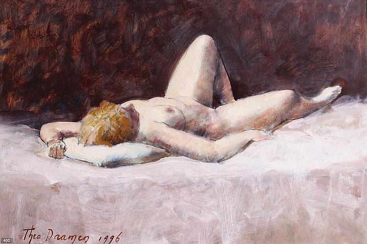Theo Daamen (Geb. 1939) Liggend naakt. Gesigneerd
