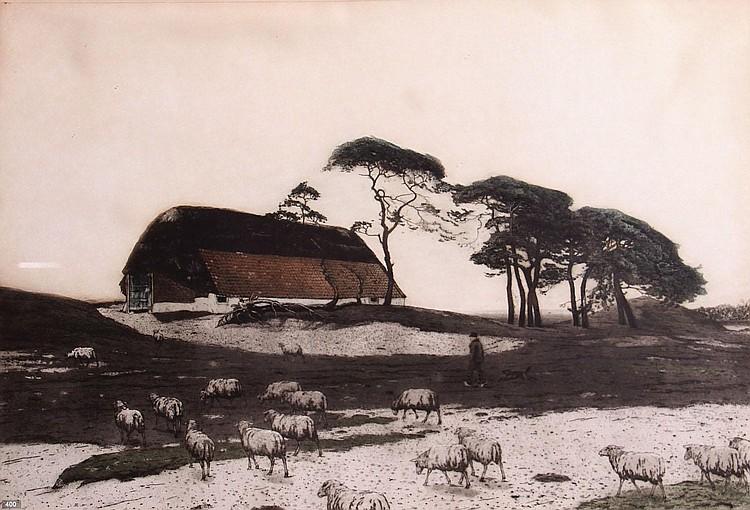 Tjeerd Bottema (1884-1940) 'Schaapskooi bij Ede'.