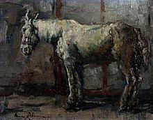 Anna Lehman (1876-1956) Paard op stal. Gesigneerd