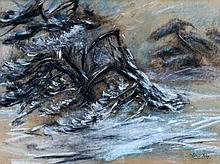Henri Kley (1903-1977) Boom in woest water. Gesign