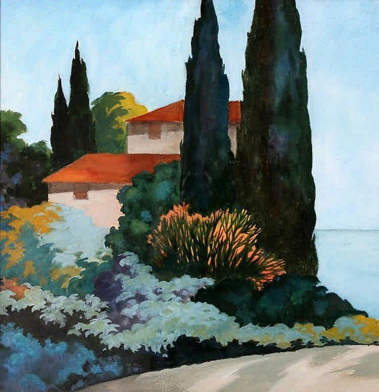 Pieter Wiegersma (1920-2009) Cypressen bij huizen.