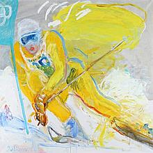 Jan van Diemen (1945-) De skiër. Gesigneerd en ged