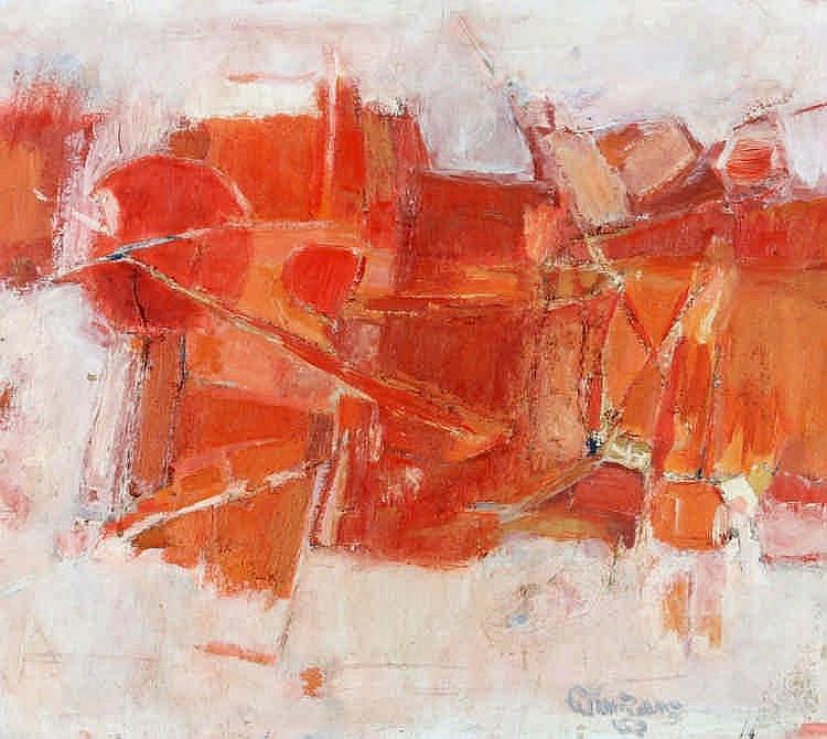 Cees Kortlang (1926-2008) 'Rood landschap'. Gesign