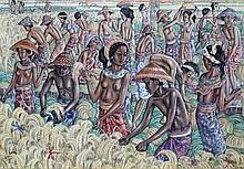 I Dewa Nyoman Rai (1945-) Aan het werk op de rijst