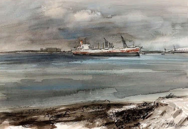 Jan Burgerhout (1919-1981) Scheepvaart op de Nieuw
