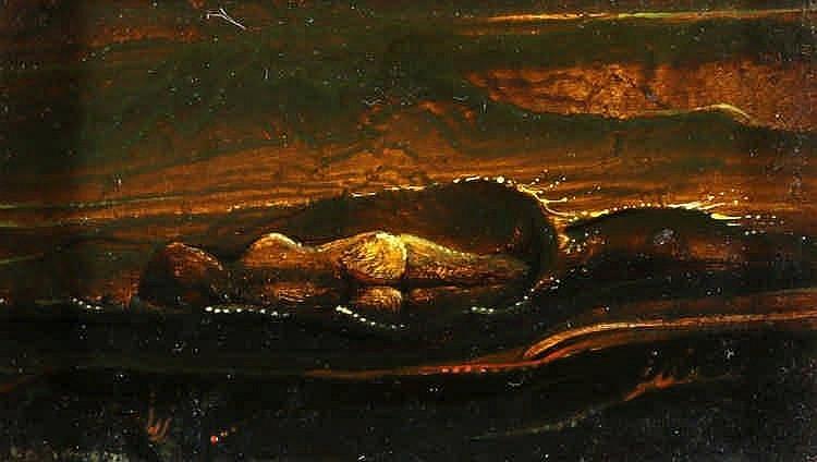 Karel Sirag (1948-) Naakt in de branding. Gesignee