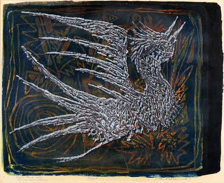 Jan Bezemer (1907-1997) 'Vogel'. Gesigneerd r.o. e