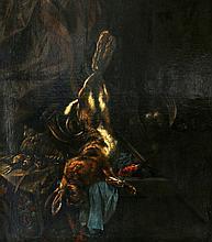 Toegeschreven aan Cornelis Lelienbergh (1626-1676) - Dead hare hanging above a par