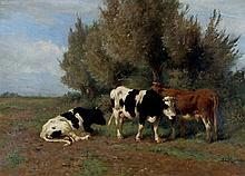 Hermanus Charles Christiaan Bogman (1861-1921) - Three cows in a meadow. Signed l
