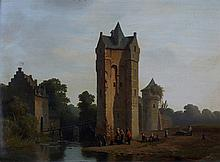 Pierre Vervou (1822-1913) - Figures by a castle moat. Signed and unclearly dated l