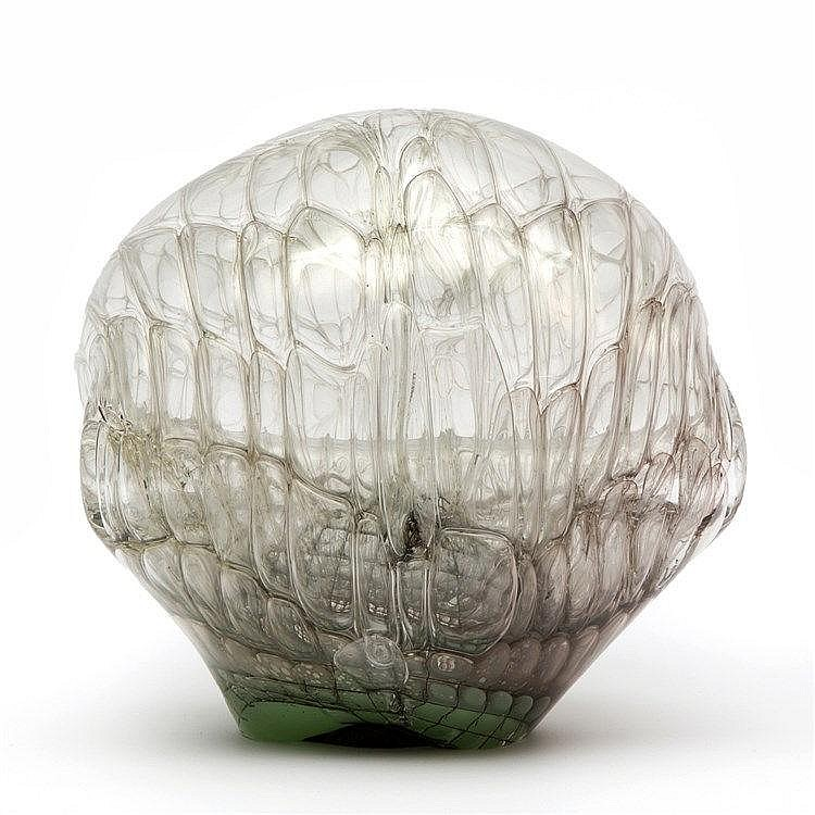 Jörg F. Zimmerman (1940-)  A clear and green glass object, blown throug