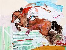 Jan van Diemen (1945-), Springpaard. Gesigneerd r.